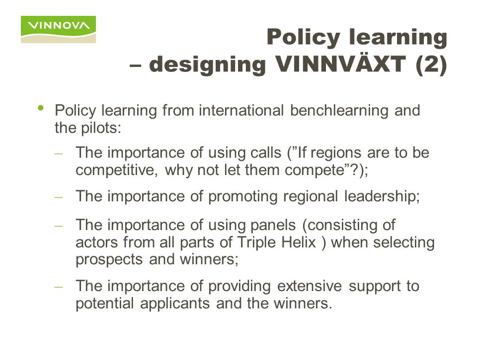 Policy learning – designing VINNVÄXT (2)