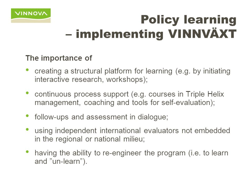 Policy learning – implementing VINNVÄXT