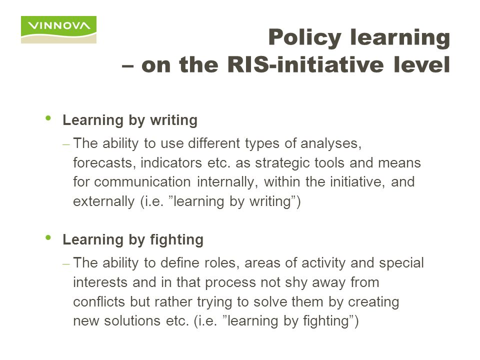 Policy learning – on the RIS-initiative level