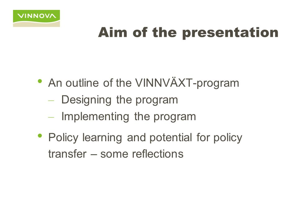 Aim of the presentation