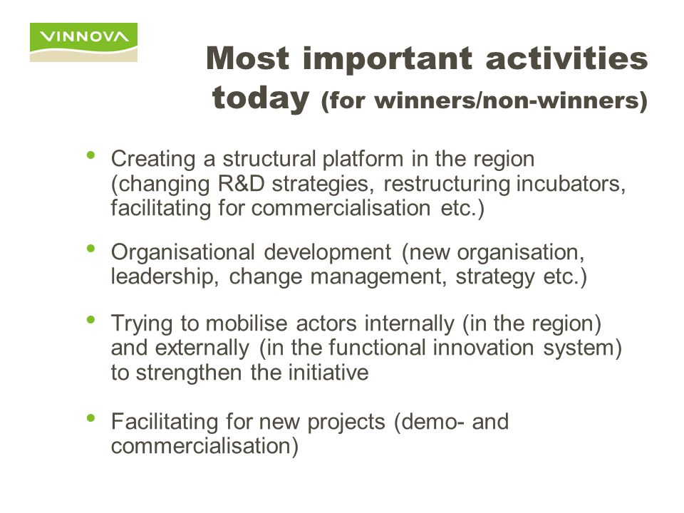 Most important activities today (for winners/non-winners)
