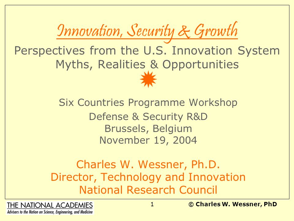 Innovation, Security & Growth Perspectives from the U. S