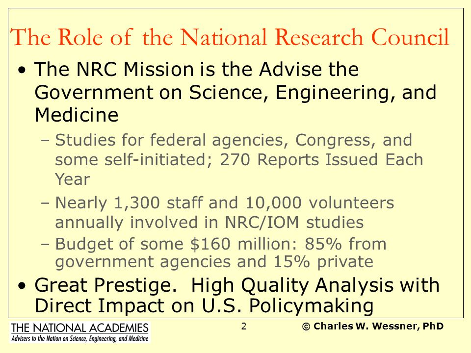 The Role of the National Research Council