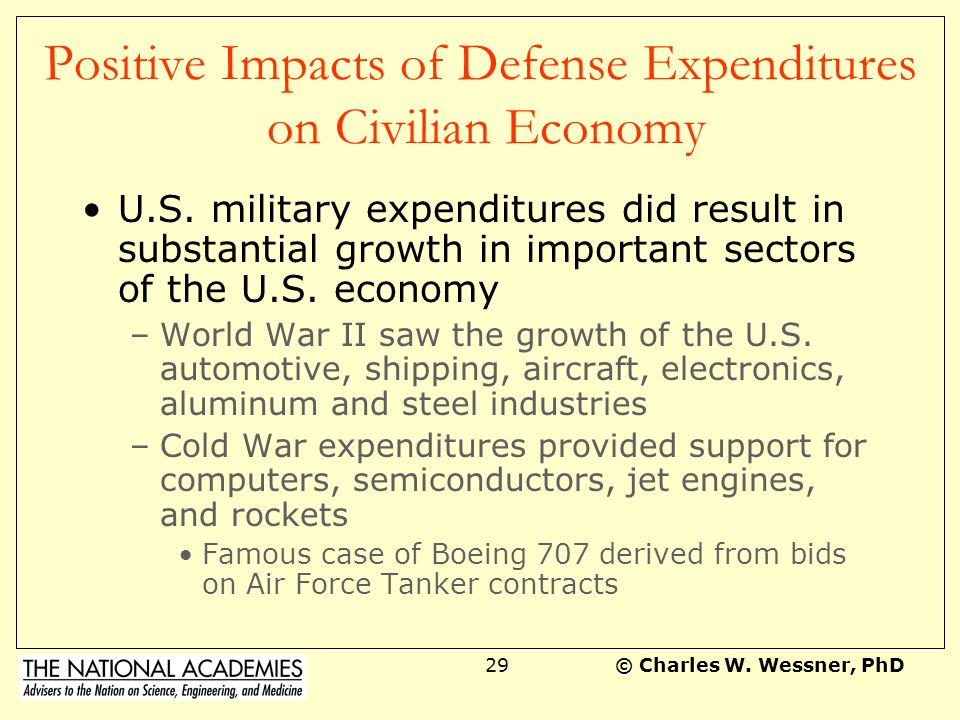Positive Impacts of Defense Expenditures on Civilian Economy