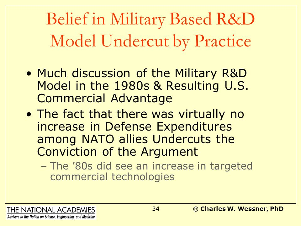 Belief in Military Based R&D Model Undercut by Practice