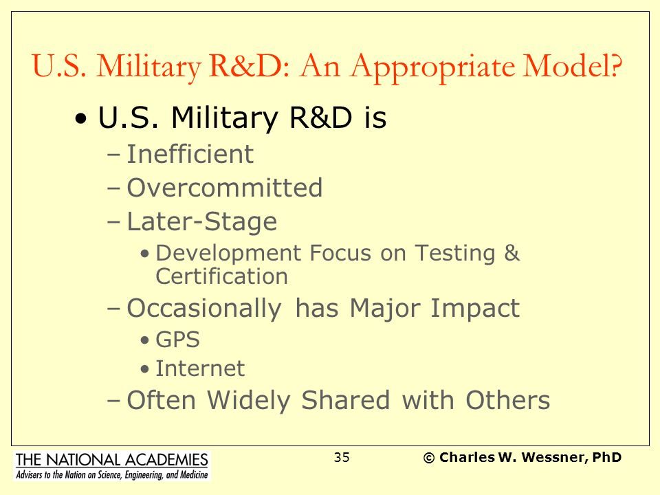 U.S. Military R&D: An Appropriate Model