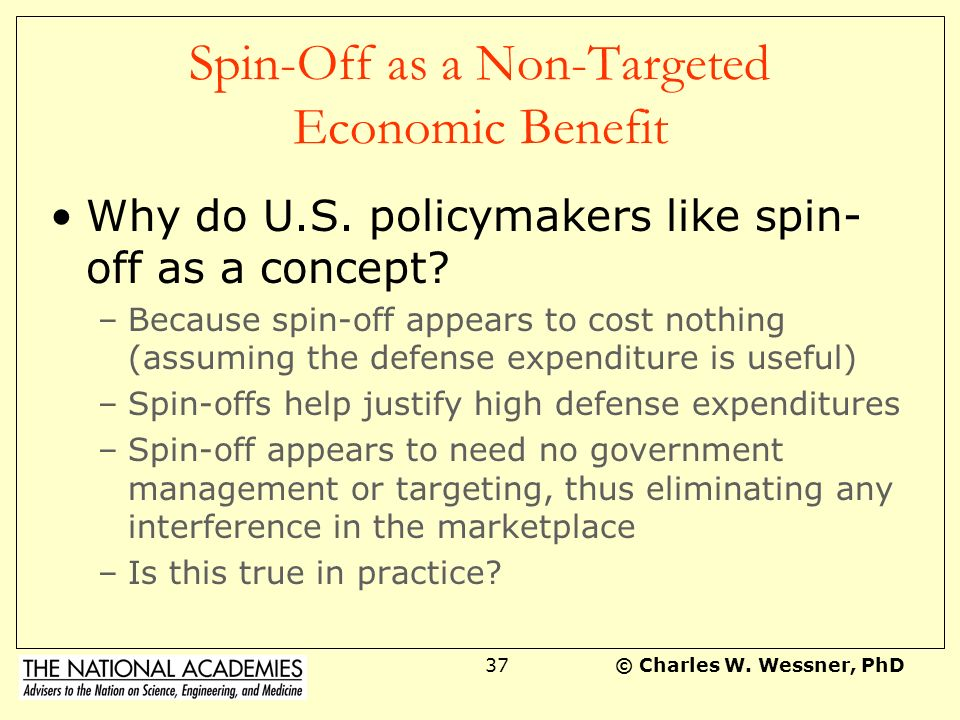 Spin-Off as a Non-Targeted Economic Benefit