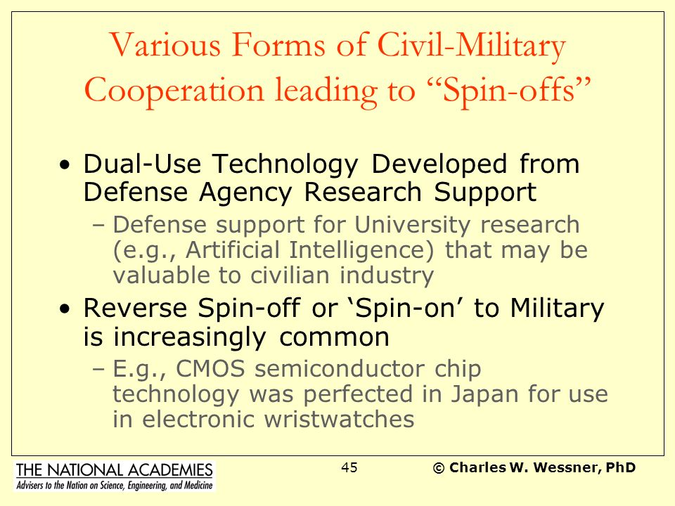 Various Forms of Civil-Military Cooperation leading to Spin-offs