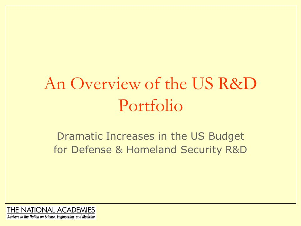 An Overview of the US R&D Portfolio