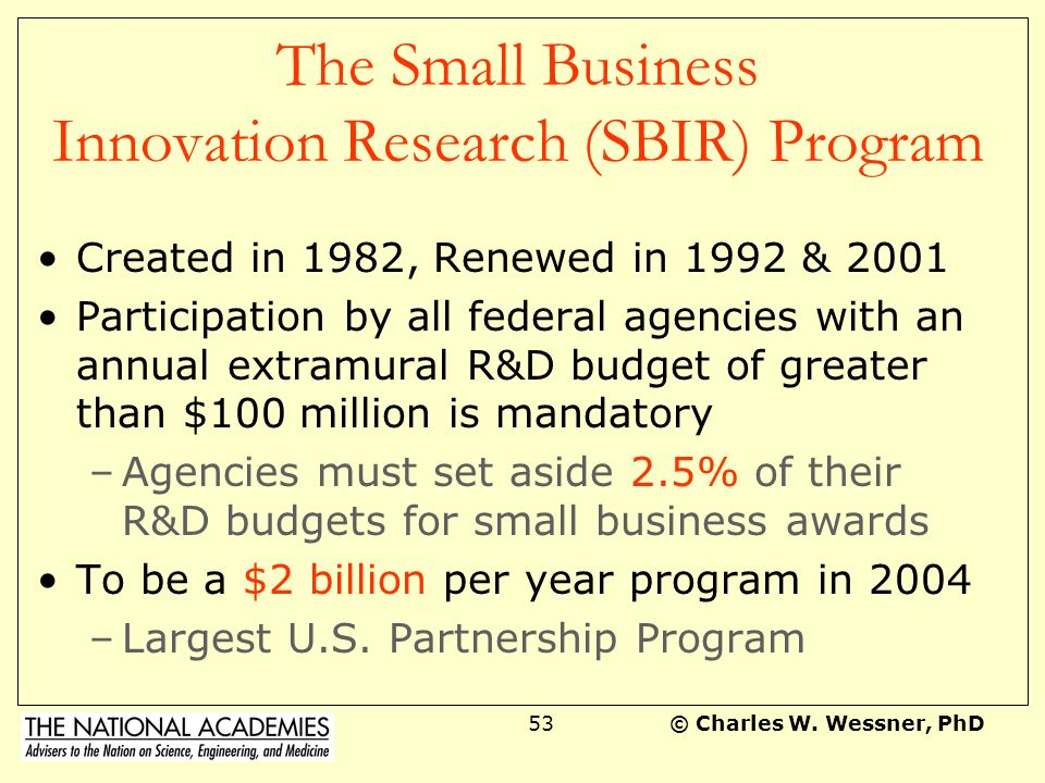 The Small Business Innovation Research (SBIR) Program