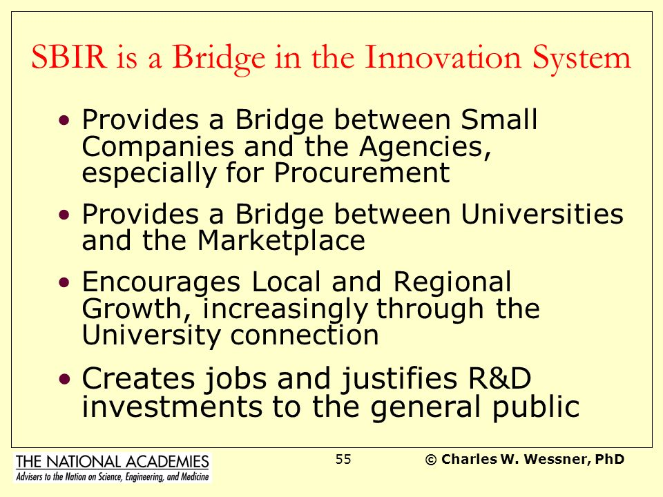 SBIR is a Bridge in the Innovation System