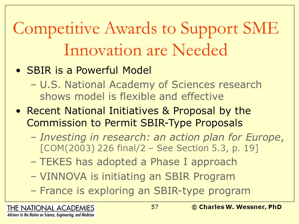 Competitive Awards to Support SME Innovation are Needed