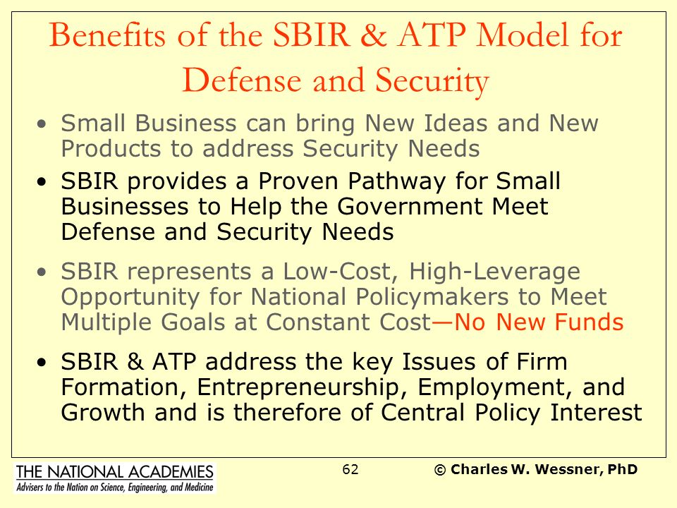 Benefits of the SBIR & ATP Model for Defense and Security