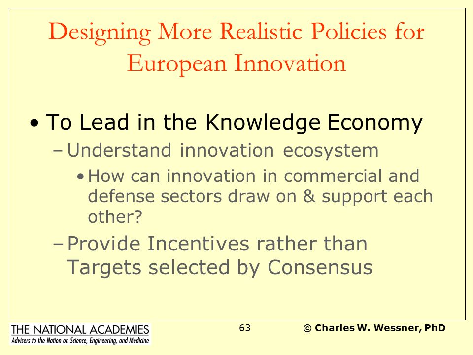 Designing More Realistic Policies for European Innovation