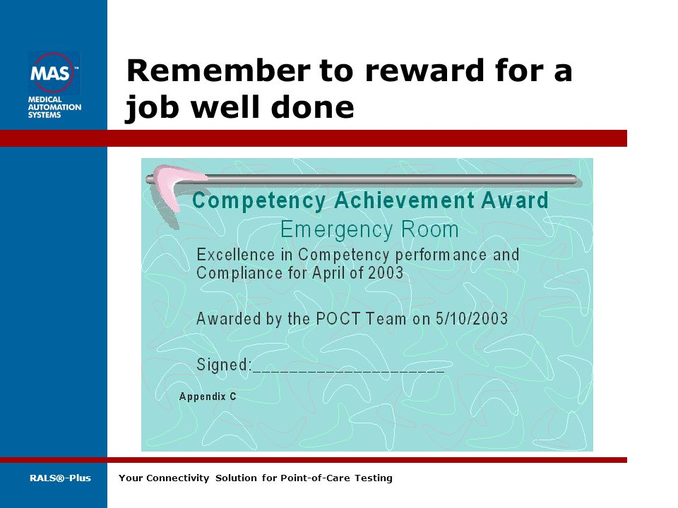 Remember to reward for a job well done