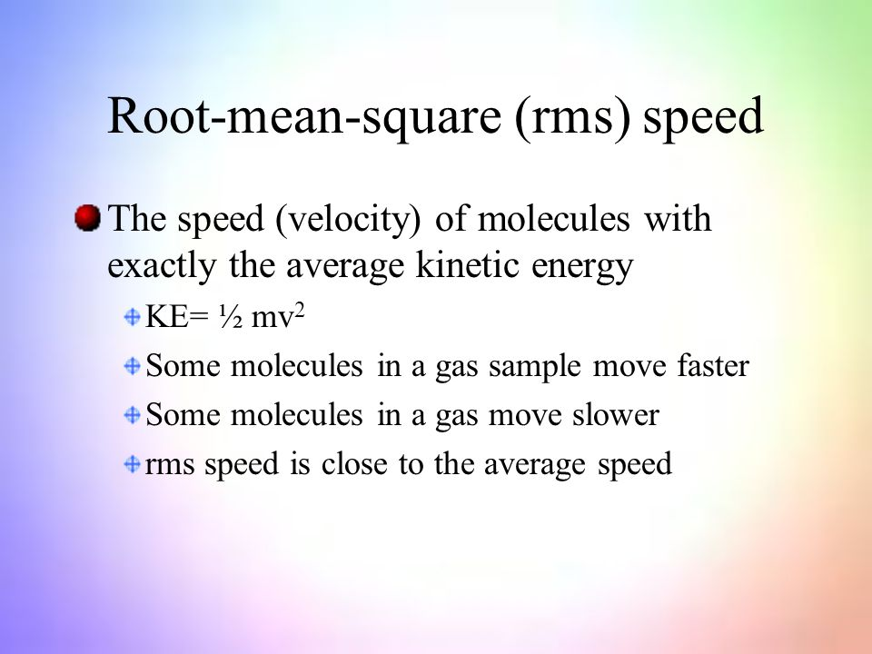 how to find the root mean square speed