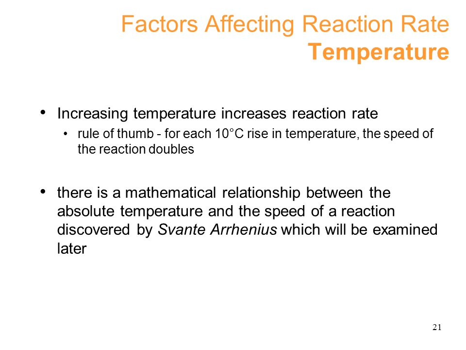 factors affecting the rate of reaction of chemicals