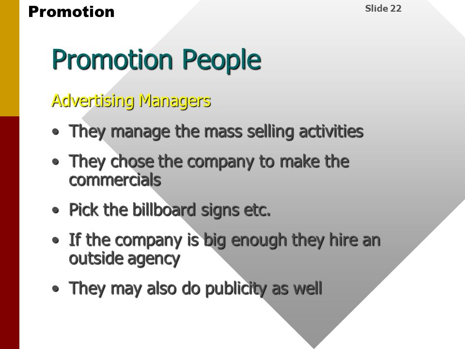 Promotion People Advertising Managers