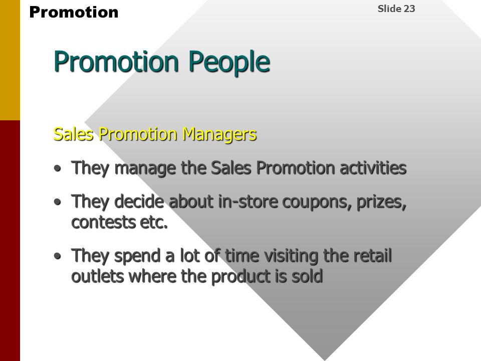 Promotion People Sales Promotion Managers