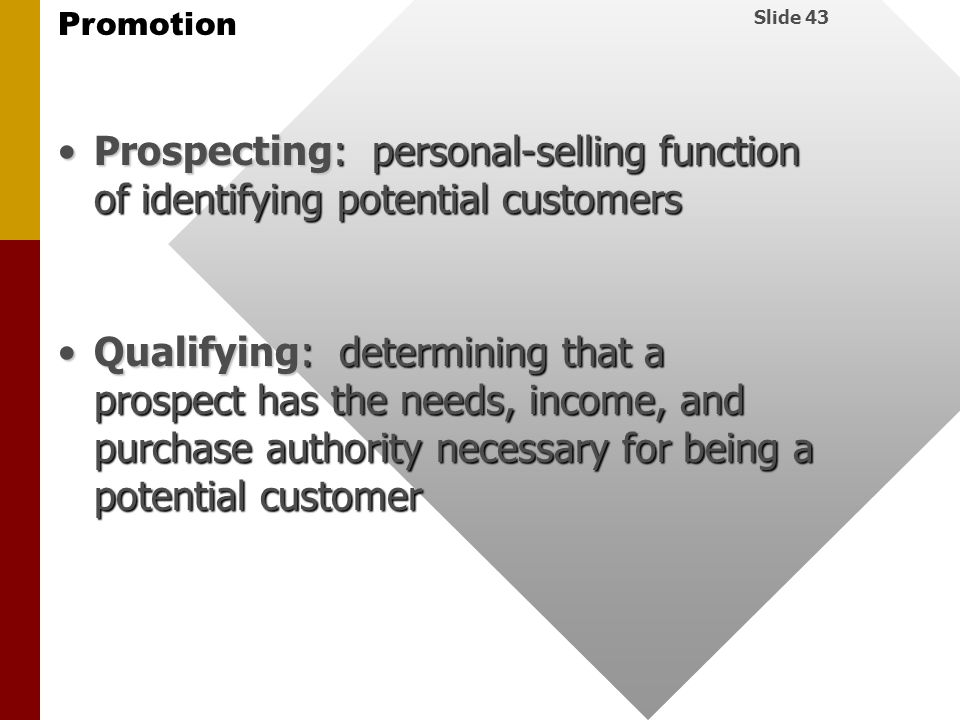 Prospecting: personal-selling function of identifying potential customers