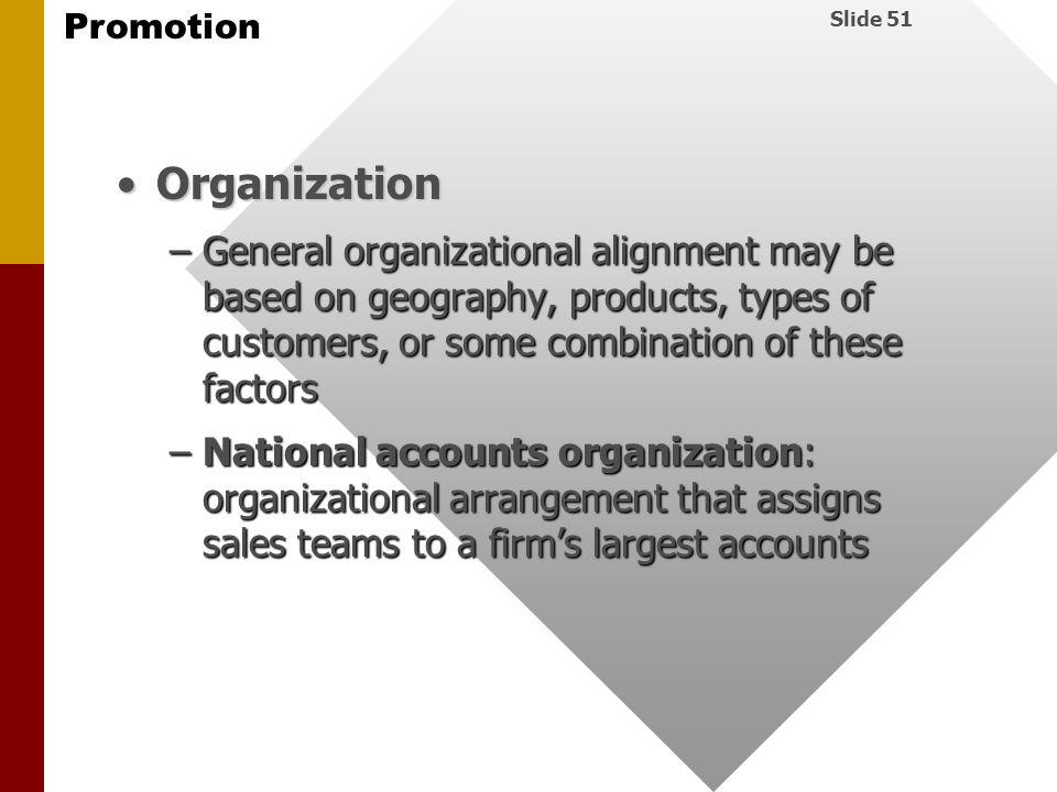 Organization General organizational alignment may be based on geography, products, types of customers, or some combination of these factors.