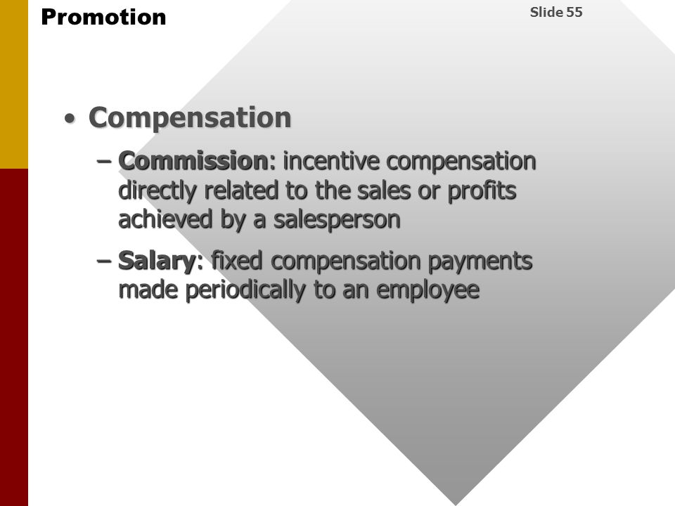 Compensation Commission: incentive compensation directly related to the sales or profits achieved by a salesperson.