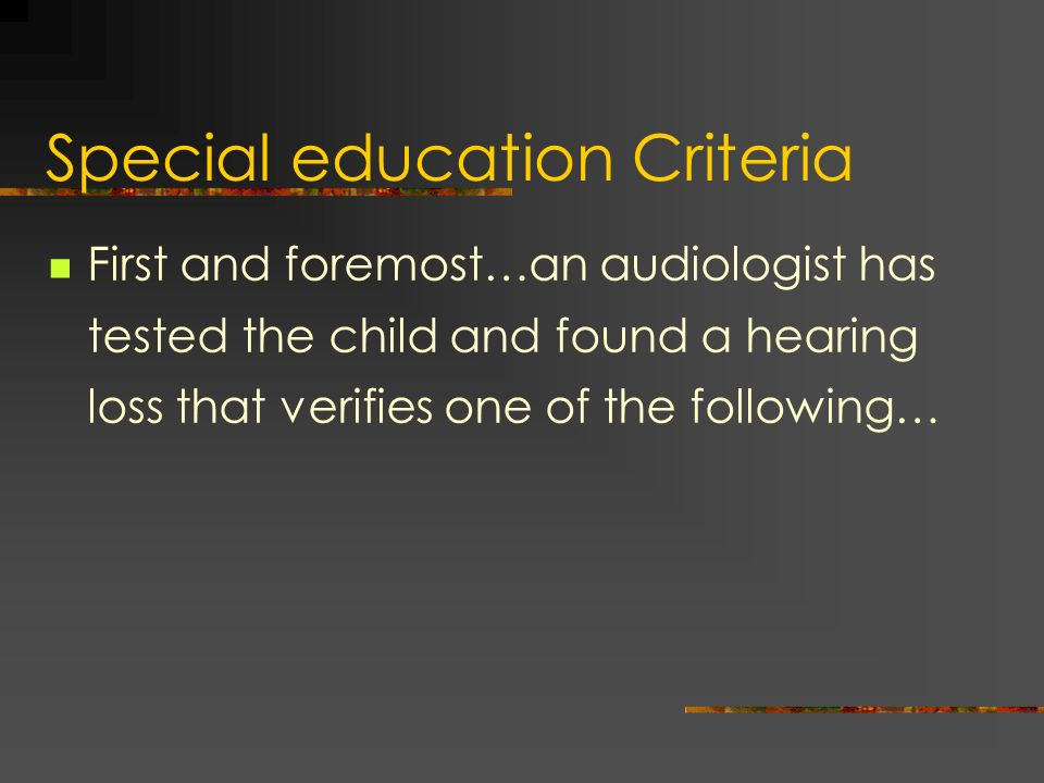 Special education Criteria