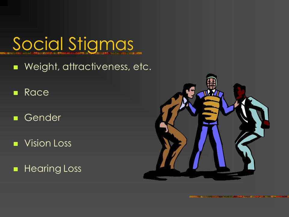 Social Stigmas Weight, attractiveness, etc. Race Gender Vision Loss