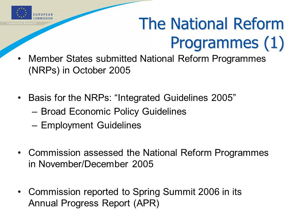 The National Reform Programmes (1)