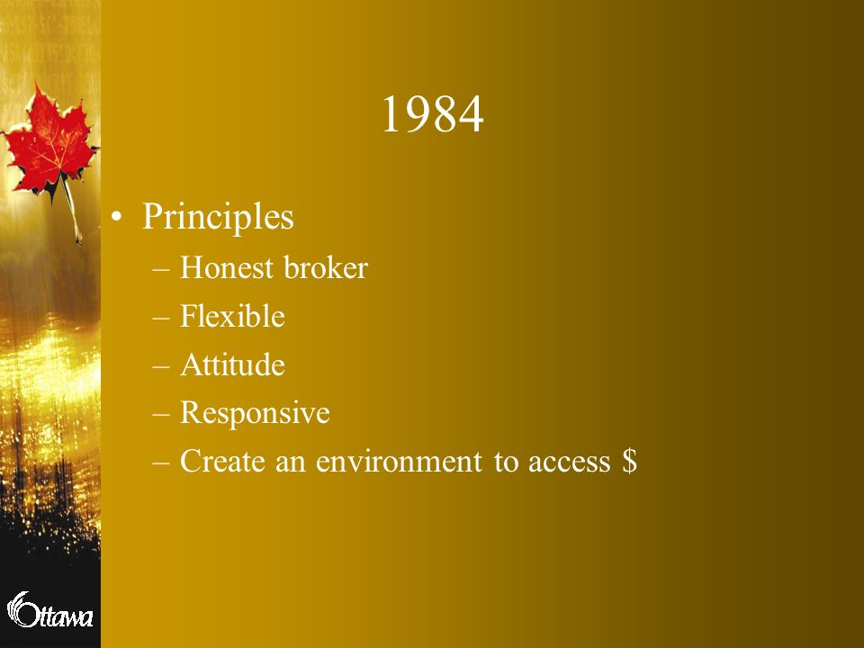 1984 Principles Honest broker Flexible Attitude Responsive