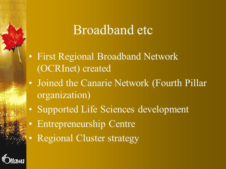Broadband etc First Regional Broadband Network (OCRInet) created
