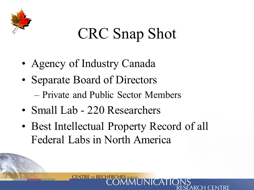 CRC Snap Shot Agency of Industry Canada Separate Board of Directors