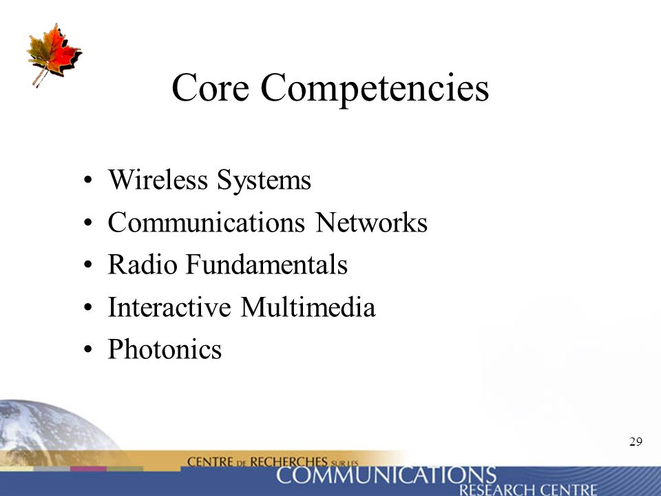 Core Competencies Wireless Systems Communications Networks