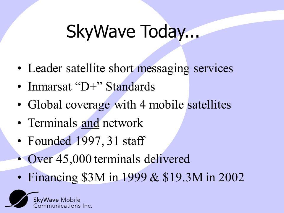 SkyWave Today... Leader satellite short messaging services