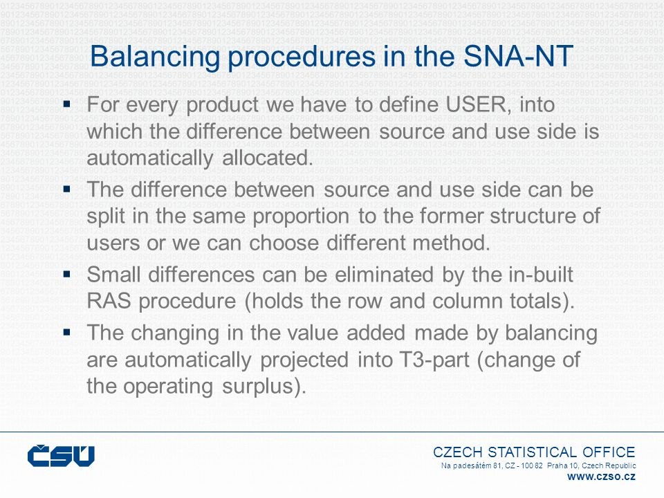 Balancing procedures in the SNA-NT