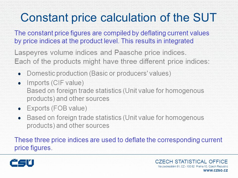Constant price calculation of the SUT