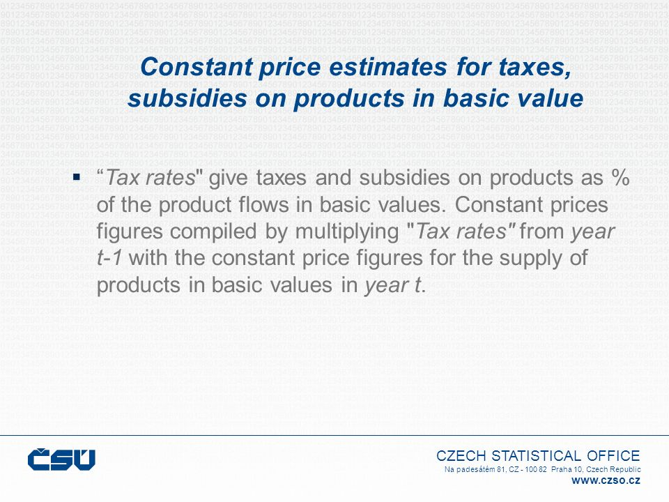 Constant price estimates for taxes, subsidies on products in basic value