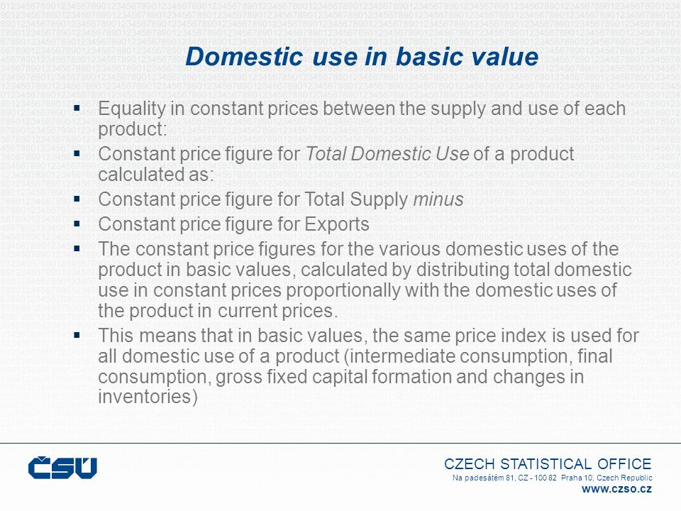 Domestic use in basic value