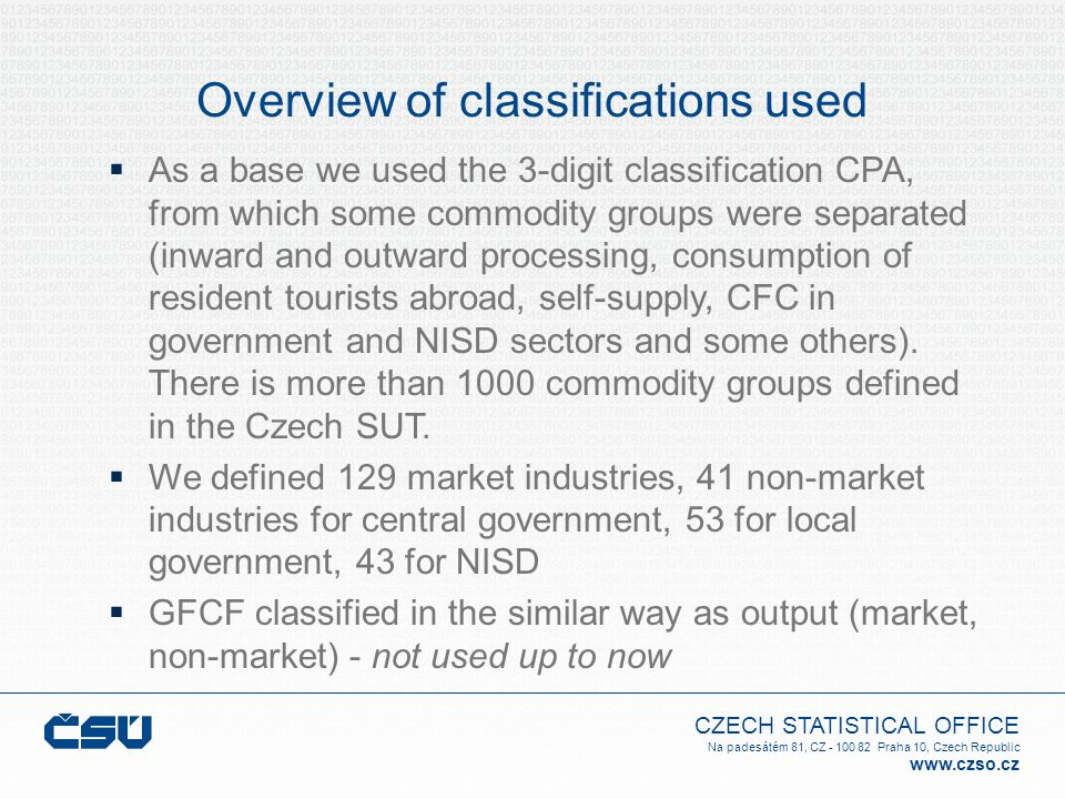 Overview of classifications used