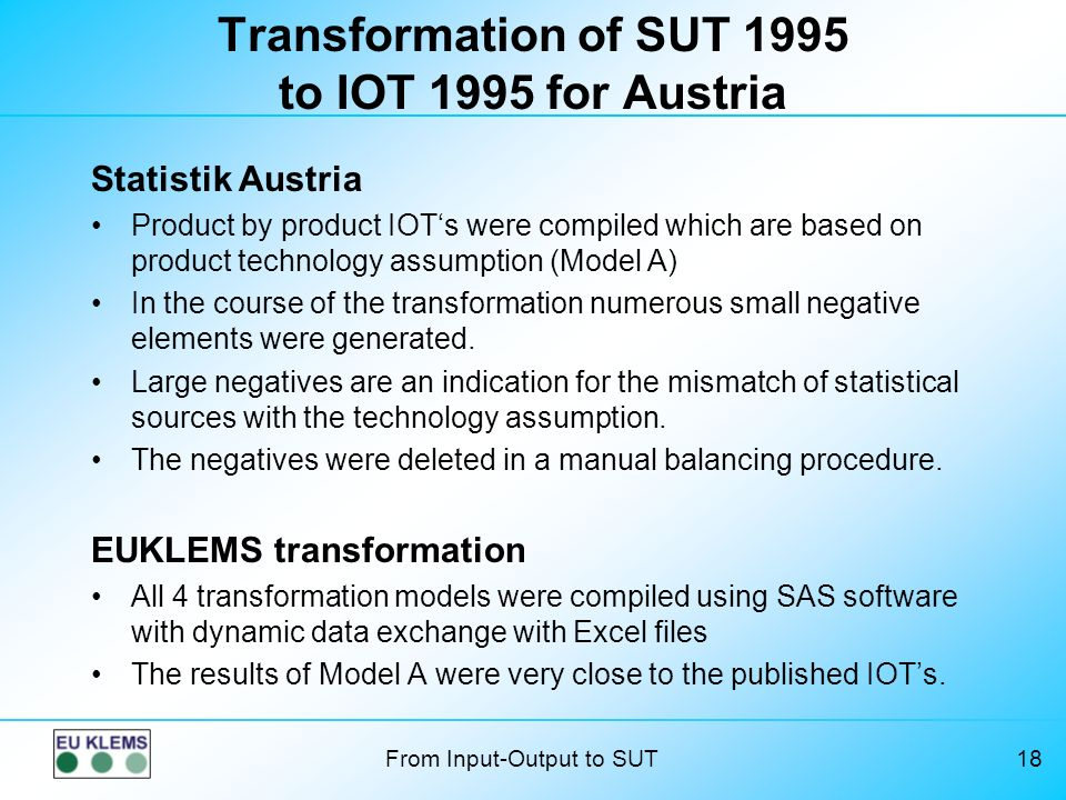 Transformation of SUT 1995 to IOT 1995 for Austria