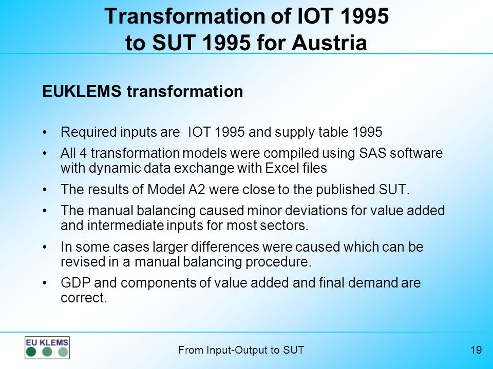 Transformation of IOT 1995 to SUT 1995 for Austria