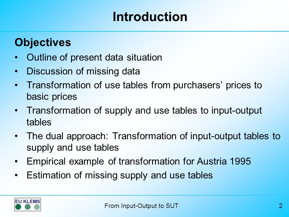 Introduction Objectives Outline of present data situation