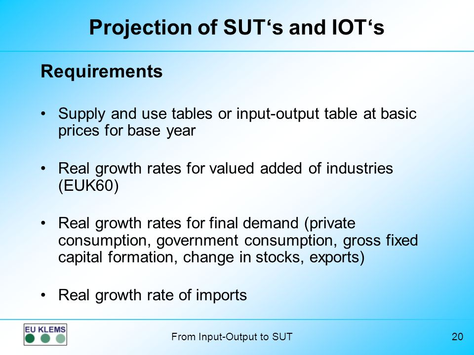 Projection of SUT's and IOT's