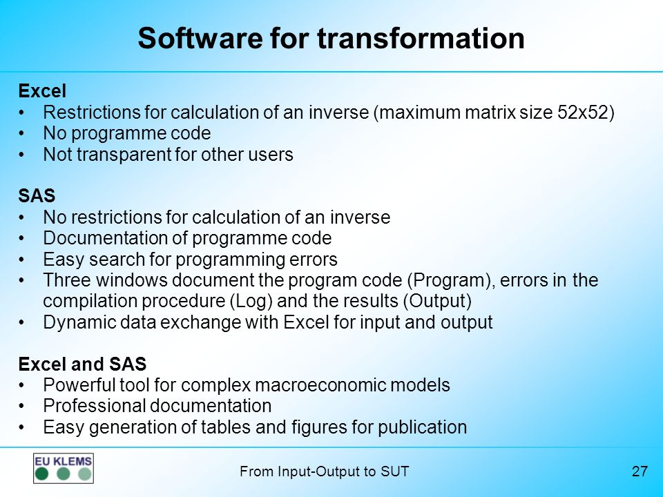 Software for transformation