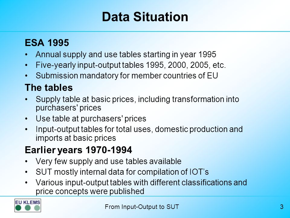 Data Situation ESA 1995 The tables Earlier years