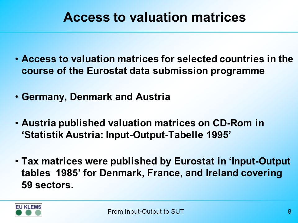 Access to valuation matrices