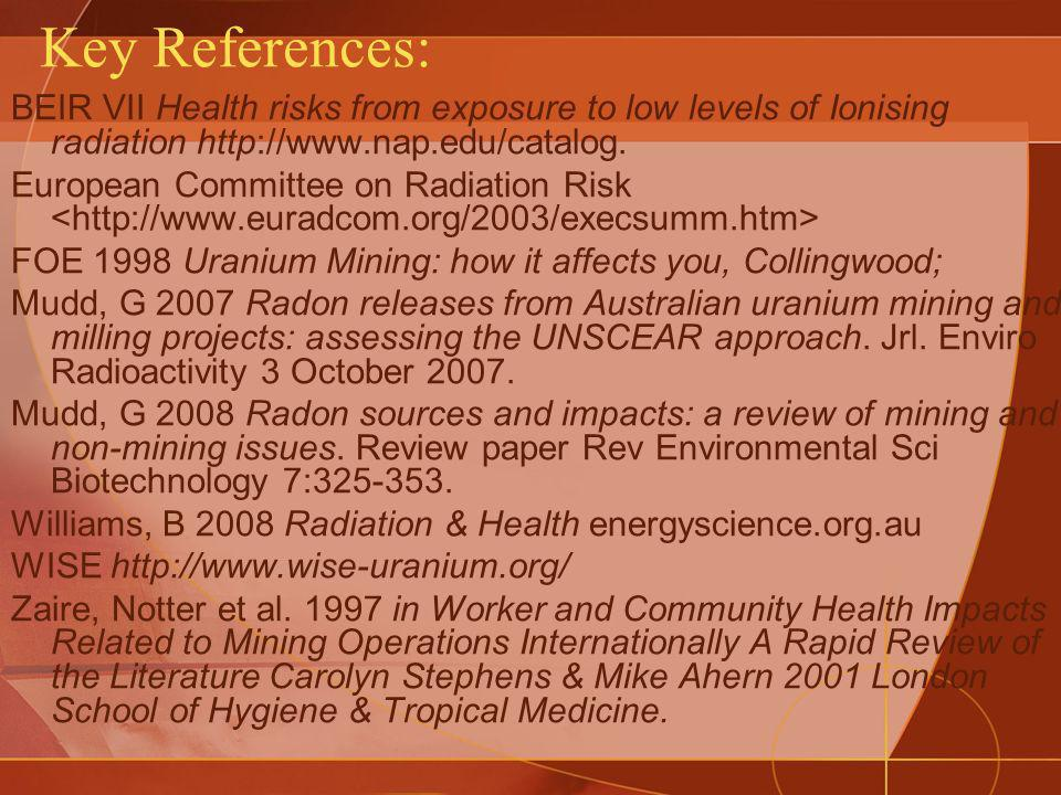 Key References: BEIR VII Health risks from exposure to low levels of Ionising radiation http://www.nap.edu/catalog.