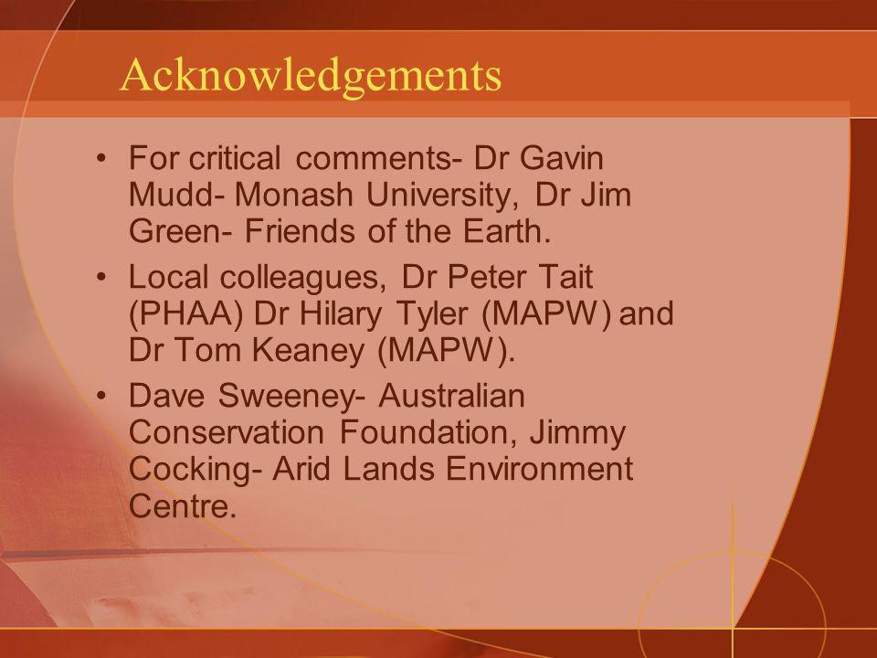 Acknowledgements For critical comments- Dr Gavin Mudd- Monash University, Dr Jim Green- Friends of the Earth.