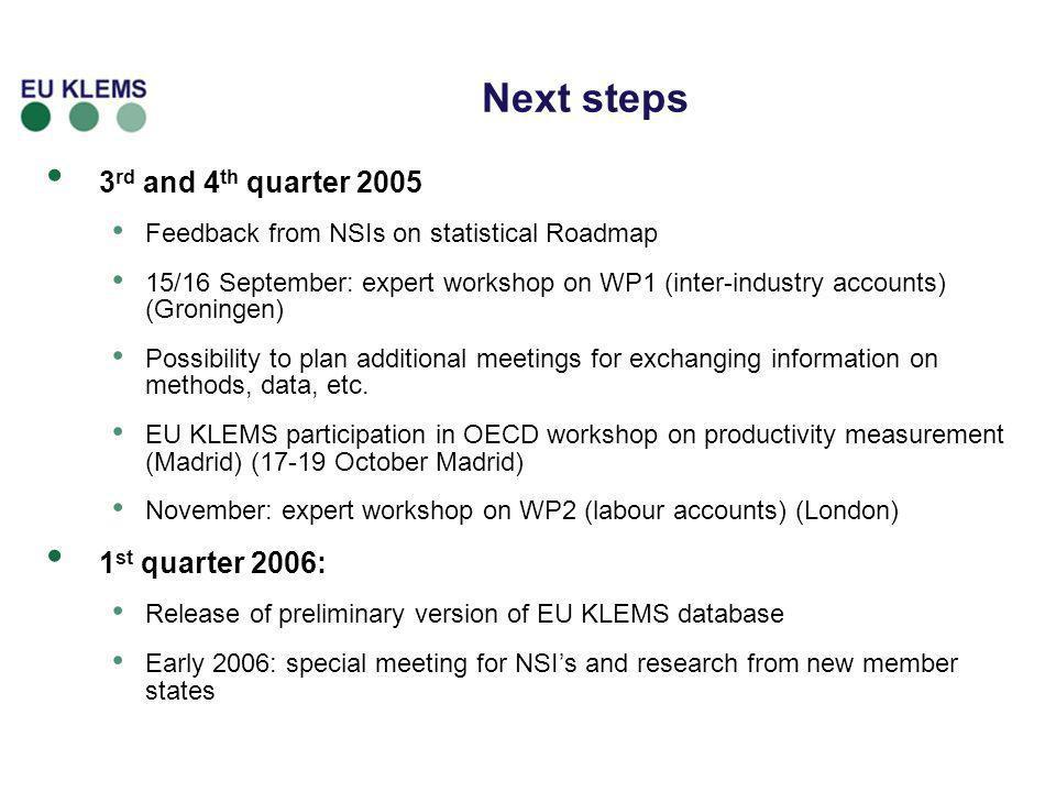 Next steps 3rd and 4th quarter 2005 1st quarter 2006: