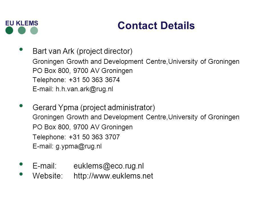 Contact Details Bart van Ark (project director)